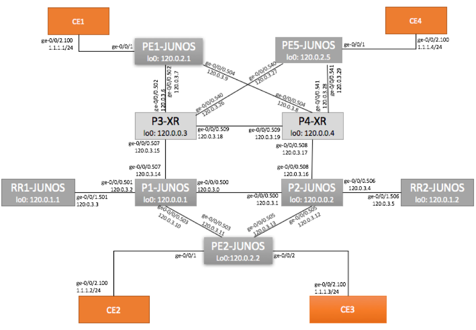 Juniper VLAN-Based EVPN Topology on MX with CE
